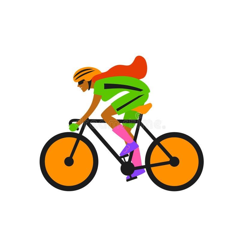 Dziwaczny kobiety rasy cyklista, jedzie roweru wektor royalty ilustracja