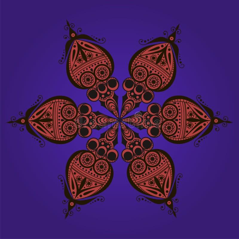 Dziwaczny kwiecisty ornament ilustracja wektor