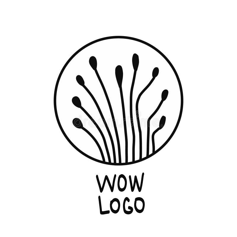 Dziwacznych rośliien czarny i biały logo dla druków t projekta i koszula royalty ilustracja