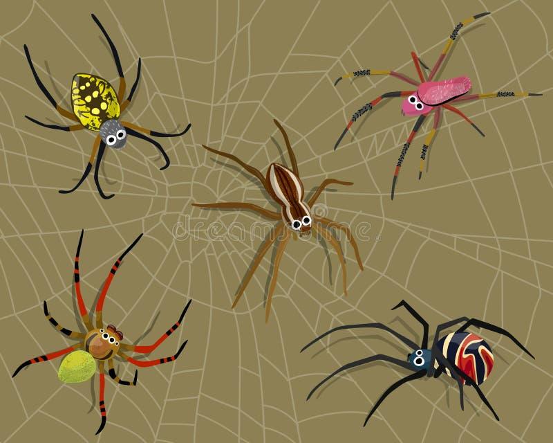 Dziwni i Kolorowi pająki na sieci ilustracji