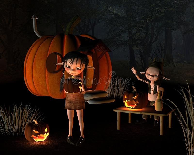 dziwożoien Halloween domowa bania ilustracja wektor
