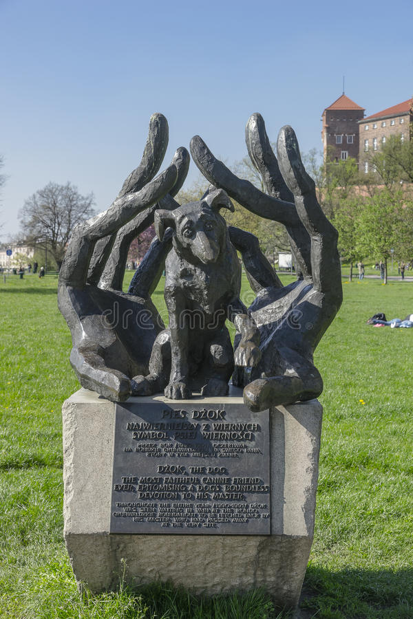 Dzok the dog statue. Bronze statue of Dzok, the dog, in Cracow, Poland. The Dzok Dog symbolises dog's loyalty and devotion stock image