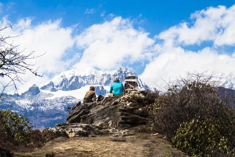 Dzongri toneel stock afbeeldingen