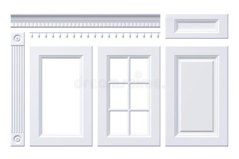 Dzwi wejściowy, kreślarz, kolumna, karnisz dla kuchennego gabineta na bielu ilustracja wektor