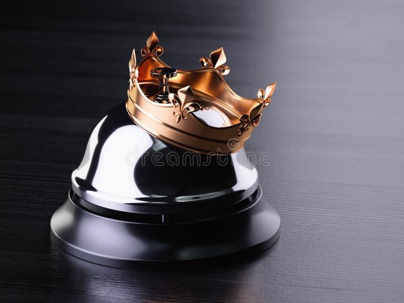 Dzwonek recepcyjny ze złotą koroną ilustracja wektor