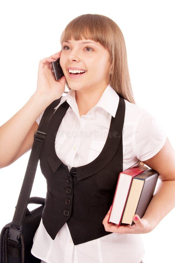 dzwoniący dziewczyny jej szturmanu szkoły uczeń obraz stock
