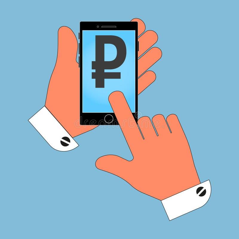 Dzwoni ikonę w ręce z rubel ikoną na ekranie, odosobnienie na błękitnym tle royalty ilustracja