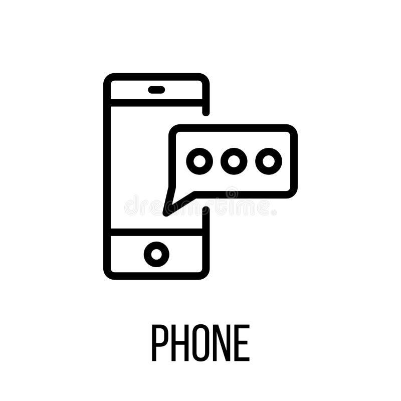 Dzwoni ikonę lub loga w nowożytnym kreskowym stylu Wysokiej jakości czarny outl ilustracja wektor