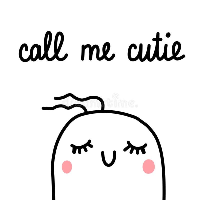 Dzwoni ja cutie marshmallow ilustracyjna ręka rysujący minimalizm dla druków plakatów sztandarów kart pocztówek piękna kąta obraz stock