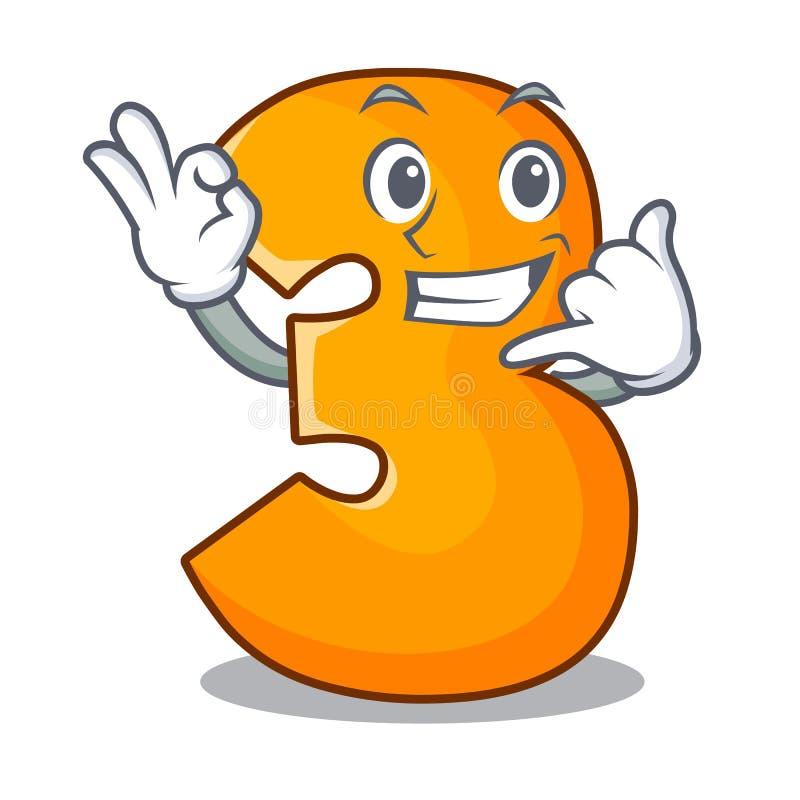 Dzwoni ja odizolowywający na maskotce liczba trzy ilustracja wektor
