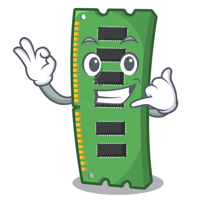 Dzwoni ja RAM karta pami?ci nad kresk?wka st?? royalty ilustracja