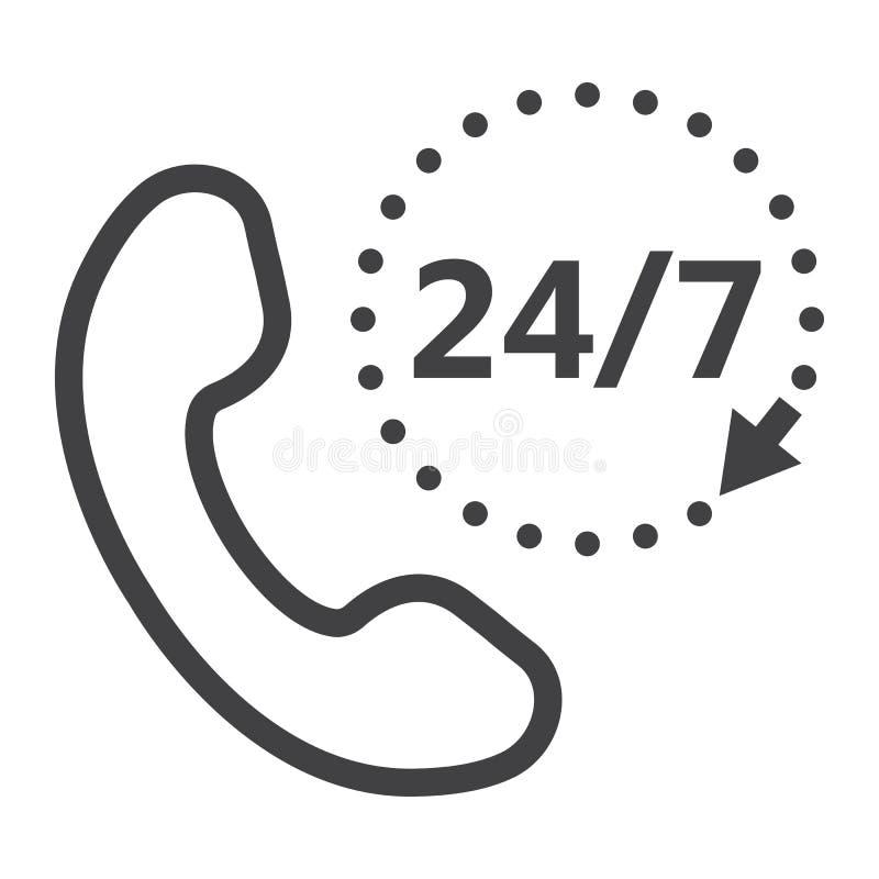 Dzwoni 24 7 kreskowa ikona, serwis pomocy i strona internetowa, ilustracja wektor