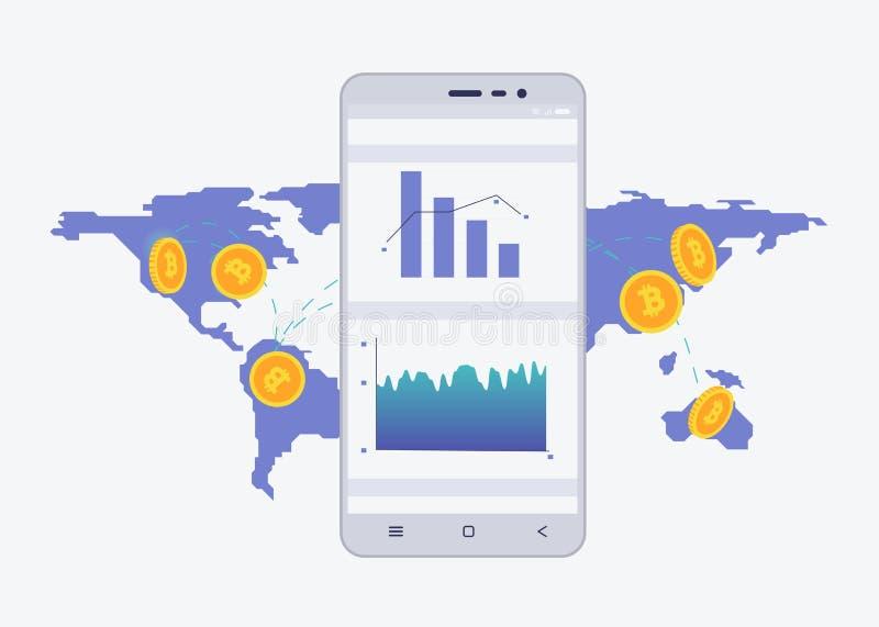 Dzwoni z crypto walutą na ekranie z mapą na tle Bitcoin handlarski pojęcie Diagram i statystyki dla ilustracji