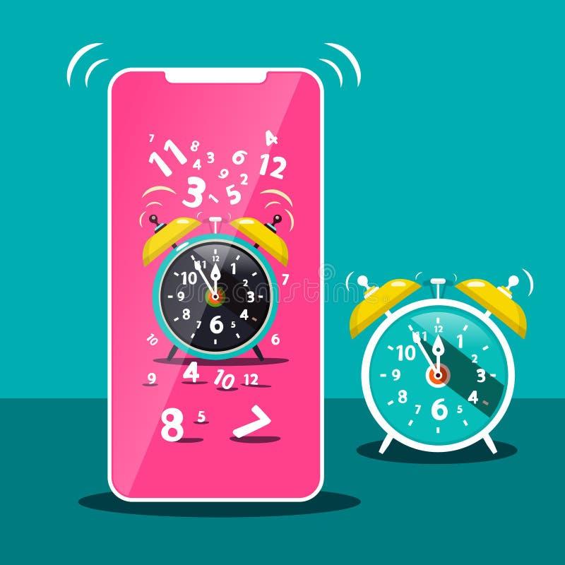 Dzwonienie budzika ikona Wektorowy telefonu komórkowego symbol ilustracji