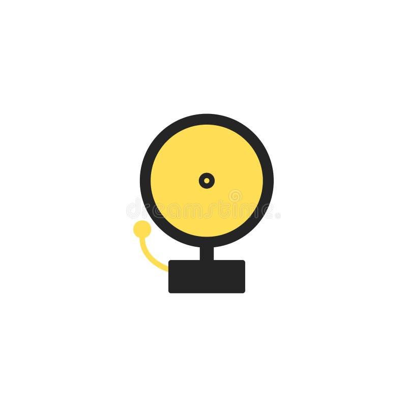 Dzwonienie dzwon alarmowy Pojedyncza sylwetka ogienia wyposażenia ikona również zwrócić corel ilustracji wektora Mieszkanie styl royalty ilustracja