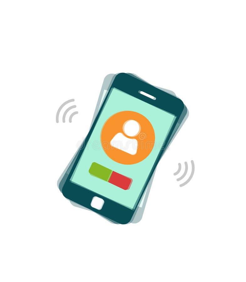 Dzwonienie telefonu komórkowego wektor, dzwonić lub rozedrgany smartphone, telefon komórkowy royalty ilustracja