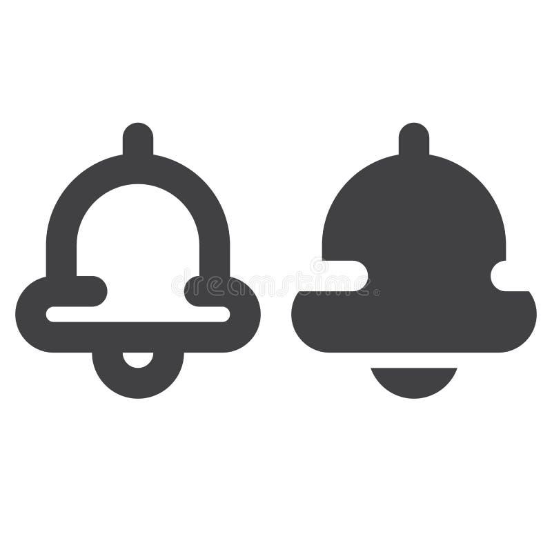 Dzwonkowa gęsta linia, bryły ikona, kontur i piktogram odizolowywający na bielu, wypełniający wektoru znaka, liniowego i pełnego, ilustracji