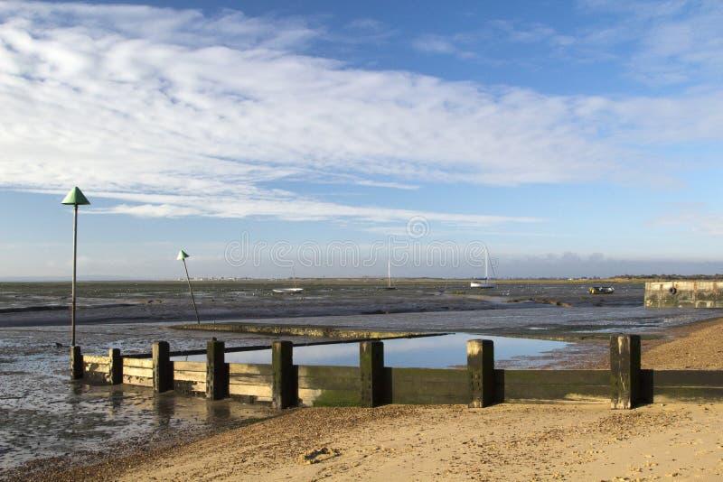 Dzwonkowa nabrzeże plaża przy morzem, Essex, Anglia fotografia stock
