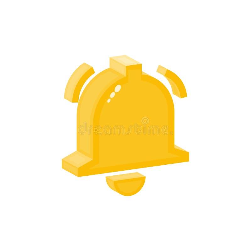 Dzwonkowa wektorowa isometric płaska ikona, alarmowy symbol ilustracja wektor