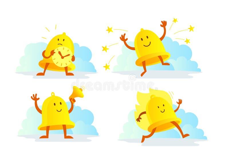 Dzwonkowego alarma charakter - set Wywoławczy zegarowego sygnału złoty kolor żółty biega z megafonem biznes synchronizować royalty ilustracja