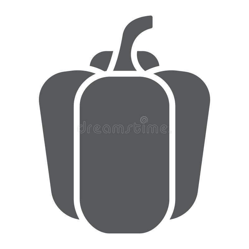 Dzwonkowego pieprzu glifu ikona, warzywo i dieta, ilustracja wektor