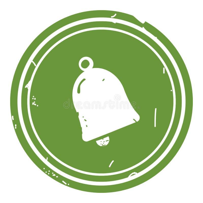 Dzwonkowej ikony wektorowa ilustracja na zielonym tle royalty ilustracja