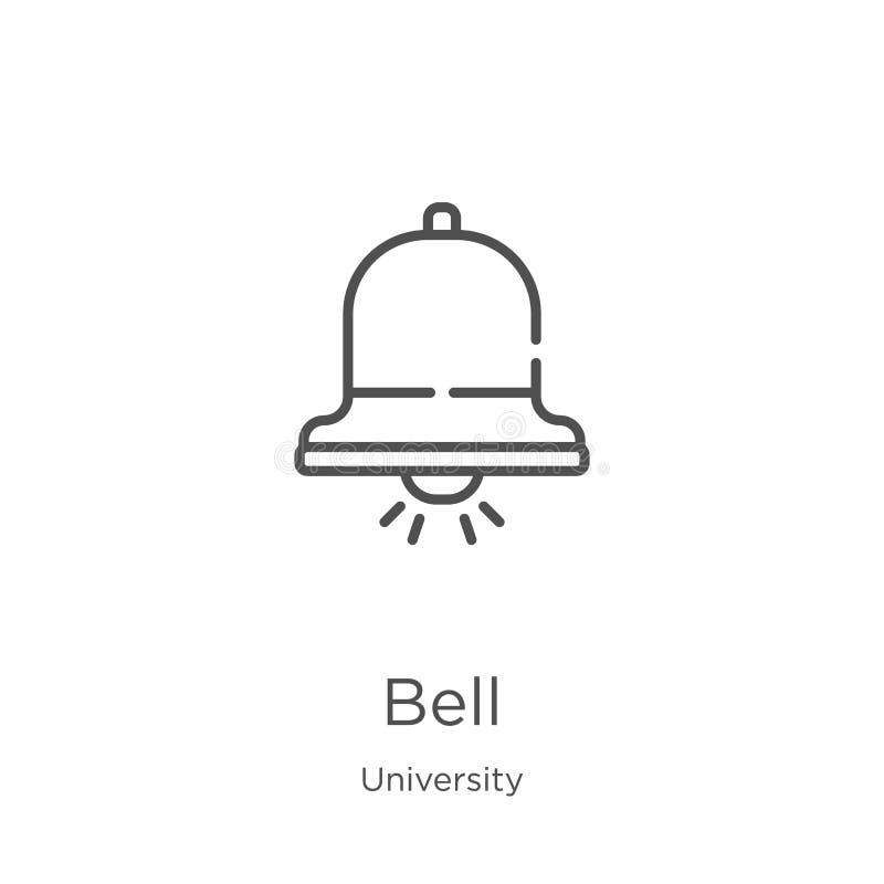 dzwonkowy ikona wektor od uniwersyteckiej kolekcji Cienka kreskowa dzwonkowa kontur ikony wektoru ilustracja Kontur, cienieje kre ilustracji