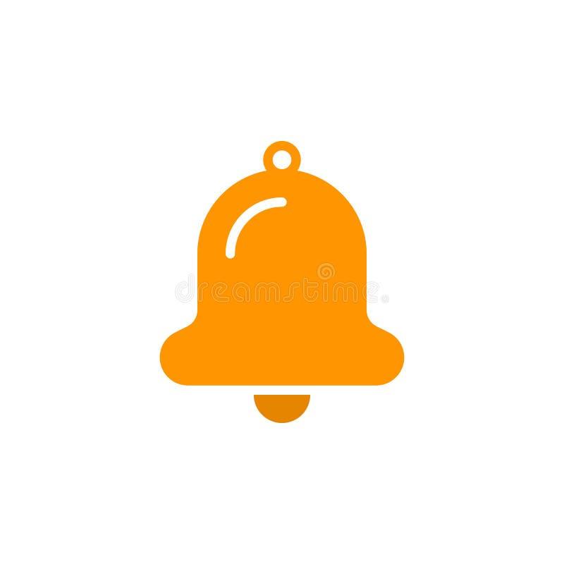 Dzwonkowy ikona wektor, wypełniający mieszkanie znak, stały kolorowy piktogram odizolowywający na bielu ilustracji