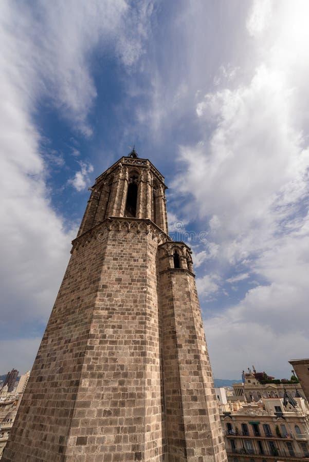 Dzwonkowy wierza Barcelona katedra - Hiszpania zdjęcia royalty free