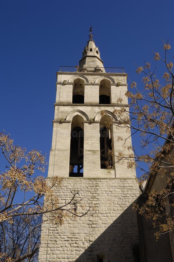 Dzwonkowy wierza kościelny Aigues-Mortes zdjęcia royalty free