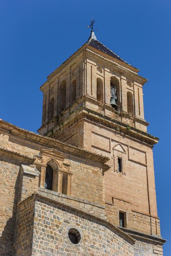 Dzwonkowy wierza Santa Maria kościół w Alcaudete zdjęcia stock
