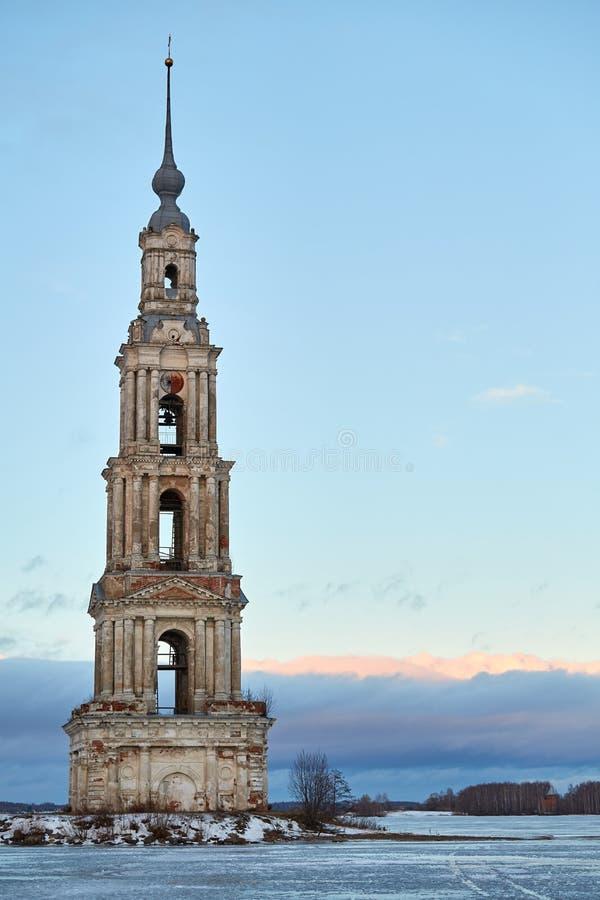 Dzwonkowy wierza St Nicholas katedra, Kalyazin fotografia stock