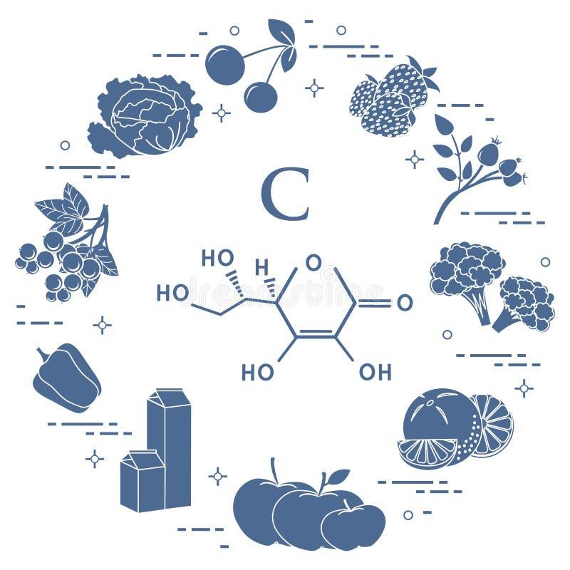 dzwonkowych brokułów c jedzeń owocowy grapefruit zawiera kiwi cytryn pomarańcz pieprzy grul bogatą pomidorów witaminę ilustracji