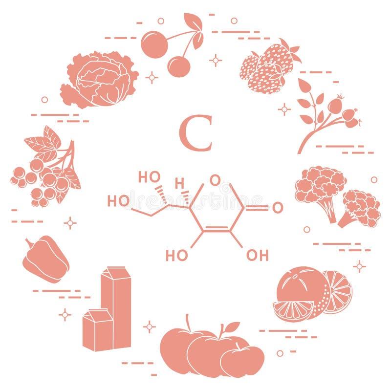 dzwonkowych brokułów c jedzeń owocowy grapefruit zawiera kiwi cytryn pomarańcz pieprzy grul bogatą pomidorów witaminę ilustracja wektor