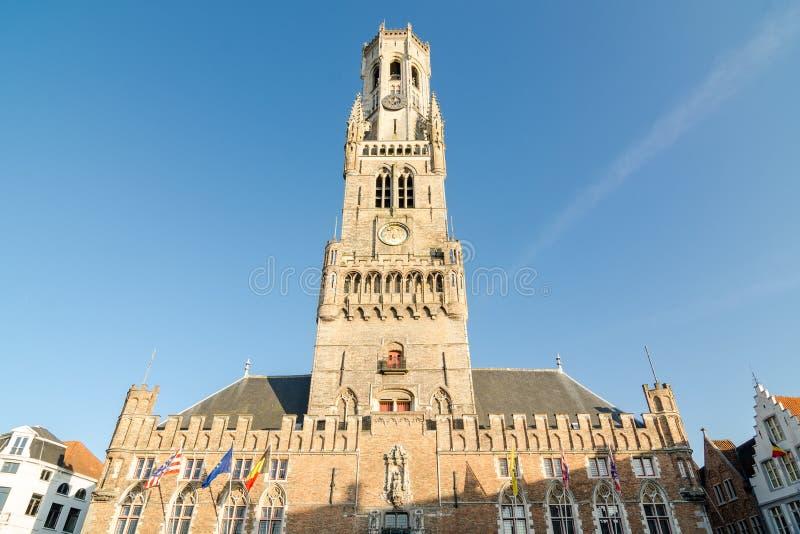 Dzwonnica Bruges jest średniowiecznym dzwonkowym wierza w dziejowym centre Bruges obraz royalty free