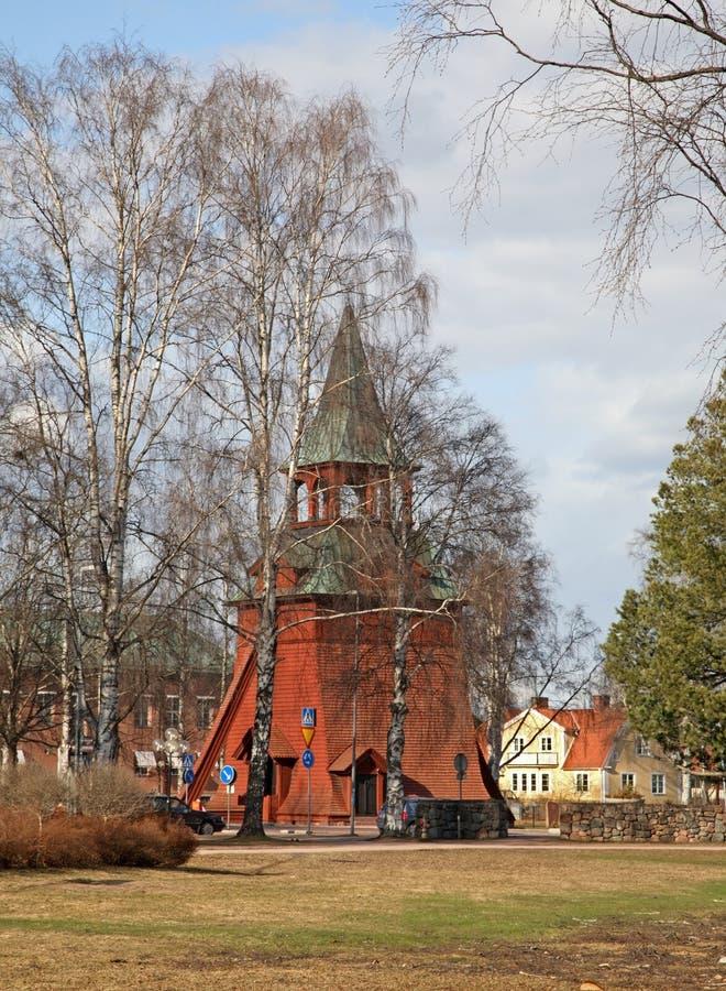 Dzwonnica kościół archanioł Michael w Morze Szwecja obraz stock