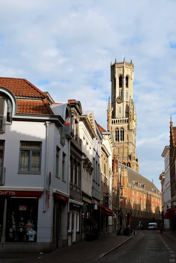 Dzwonnica w dziejowym centrum miasta w Bruges fotografia royalty free