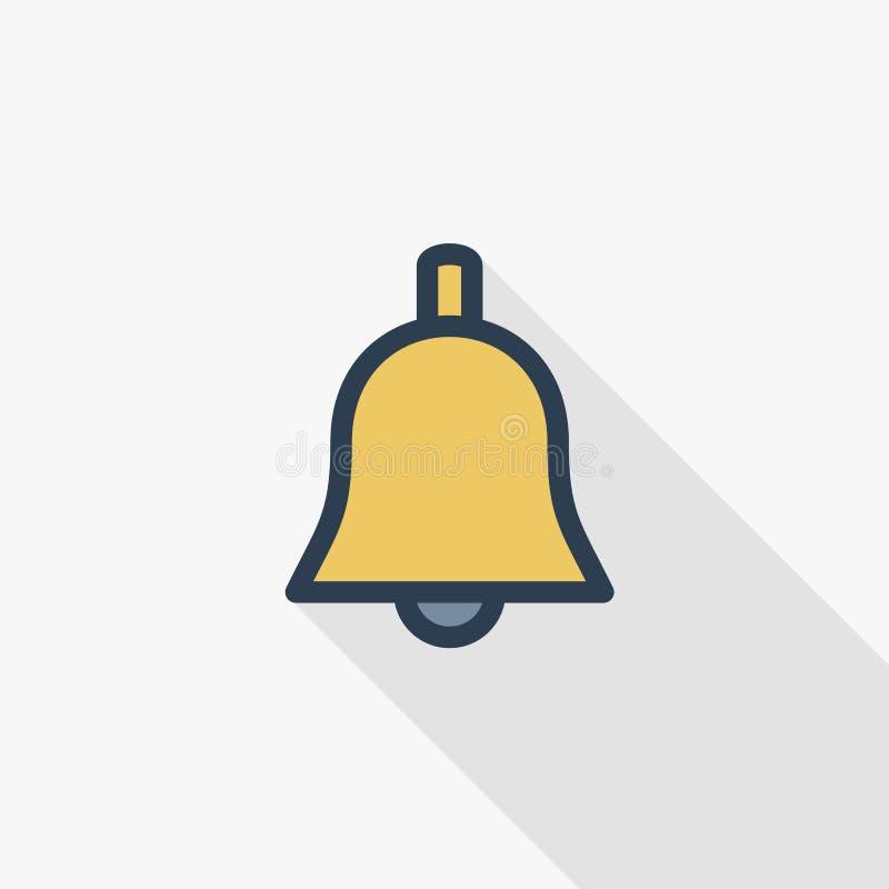 Dzwonnika koloru cienka kreskowa płaska ikona Liniowy wektorowy symbol Kolorowy długi cienia projekt ilustracja wektor