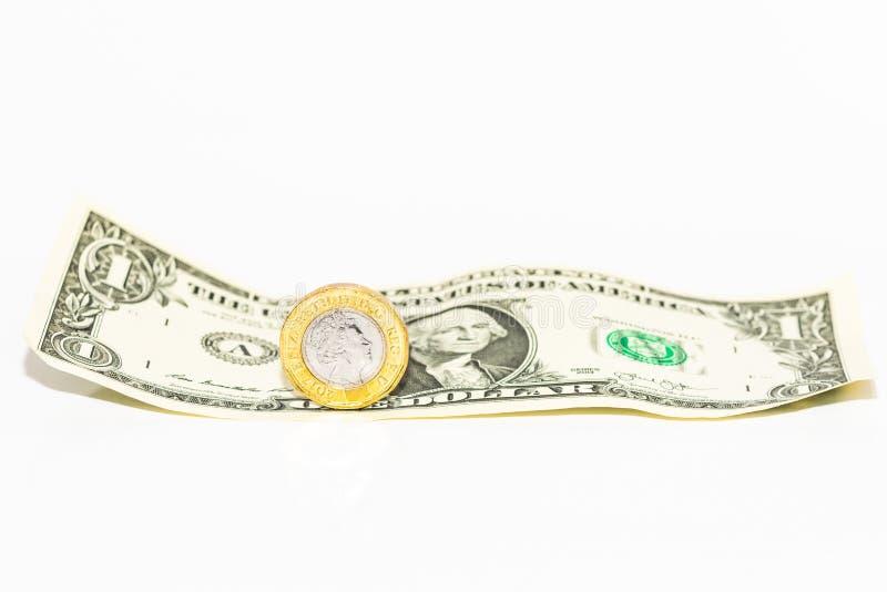 Eén dollar per dollar per pond sterling in het Verenigd Koninkrijk stock afbeeldingen