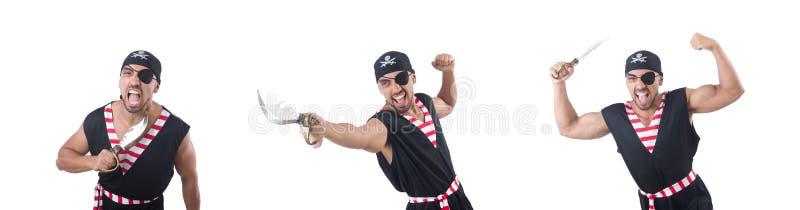 Eén gekleurd piraat geïsoleerd op het witte royalty-vrije stock afbeeldingen