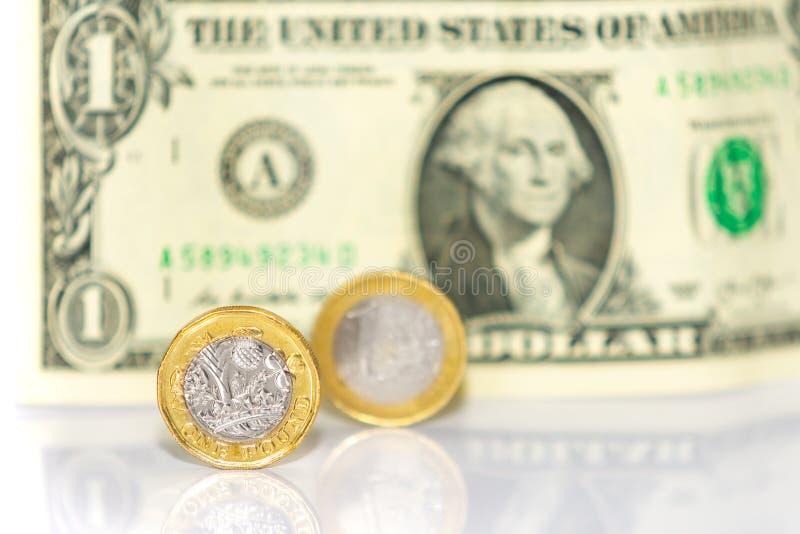 Eén pond, één euro, Amerikaanse dollar royalty-vrije stock afbeelding