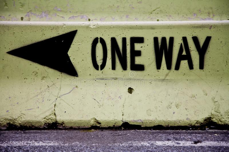 Eén weg, één richting royalty-vrije stock afbeeldingen