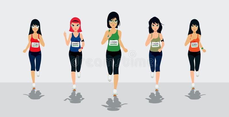 Żeńscy biegacze ilustracji