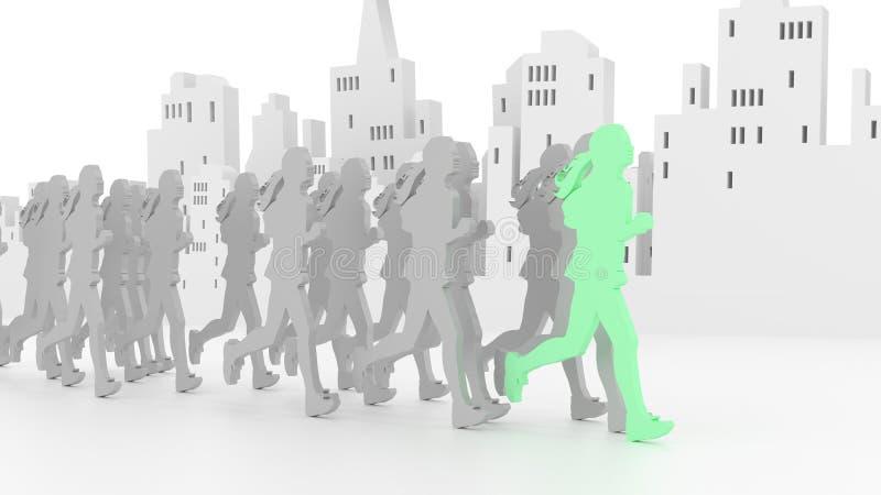 Żeńscy biegacze przed miasto linią horyzontu ilustracji