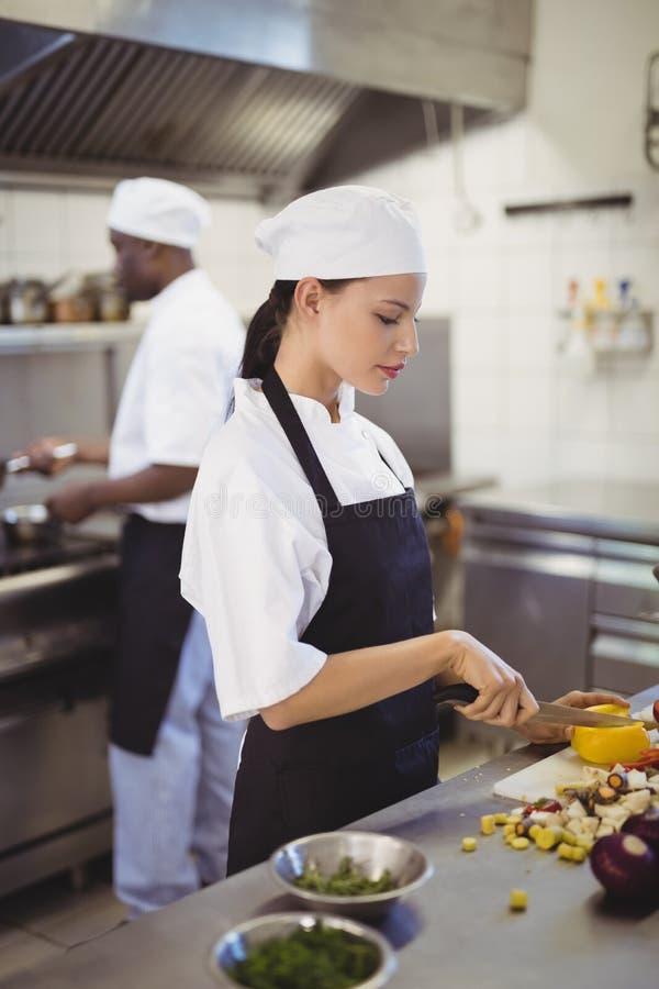 Żeńscy szefowie kuchni sieka warzywa w handlowej kuchni obrazy stock