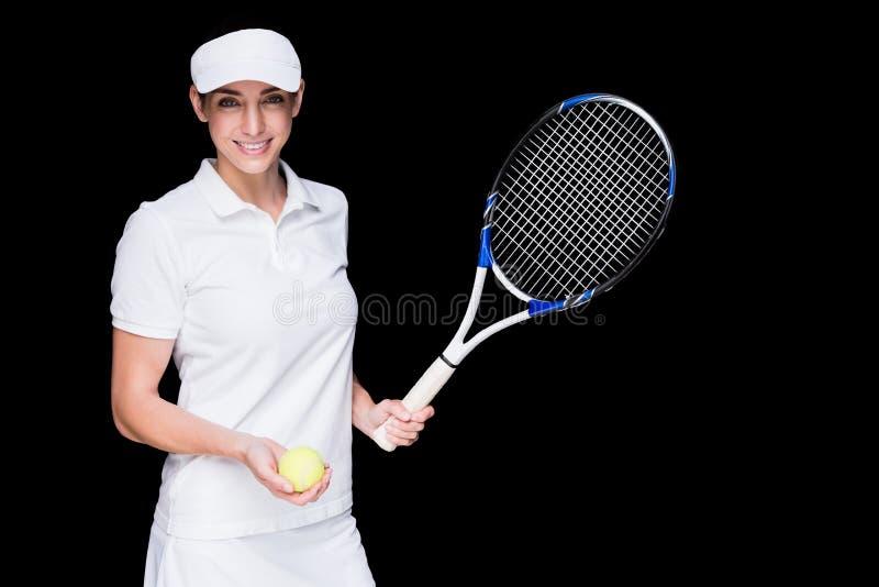 Żeńska atleta bawić się tenisa obraz stock