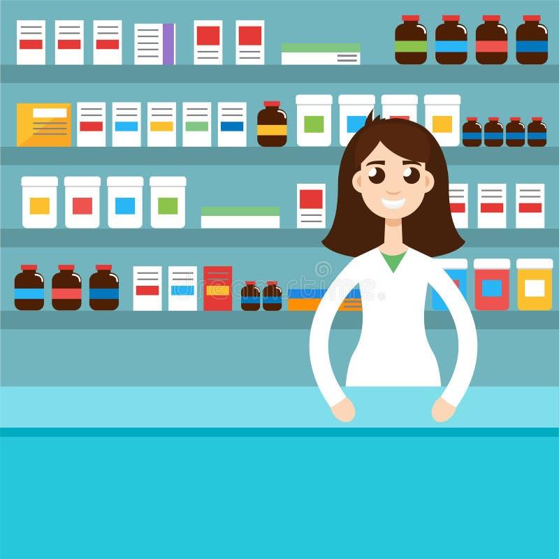 Żeńska farmaceuta, kobieta również zwrócić corel ilustracji wektora ilustracji