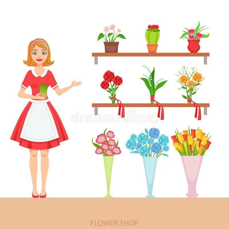 Żeńska kwiaciarnia Demonstruje asortyment W kwiatu sklepie ilustracji