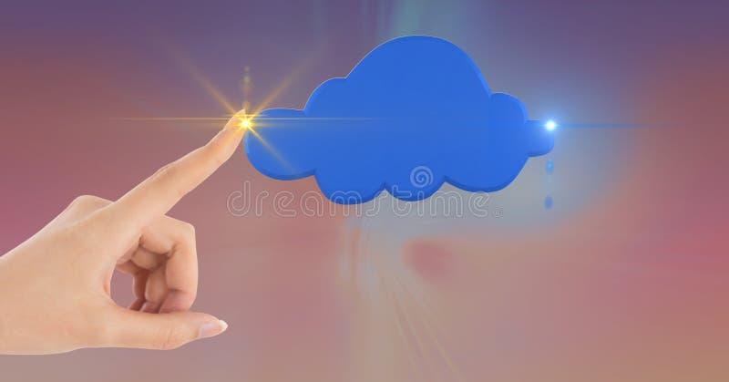 Żeńska ręka dotyka błękit chmury kształt zdjęcie stock