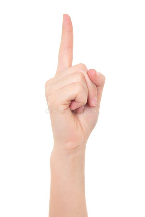 Żeńska ręka pokazuje pomysłu gest odizolowywającego na bielu zdjęcia stock
